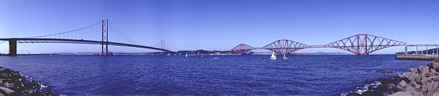 Panoramic view of Forth Estuary showing both Rail and Road Bridges